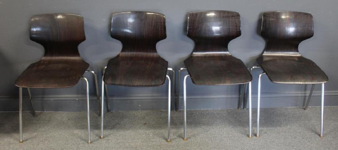 Set Of 4 Thonet Chrome and Laminate Chairs ,