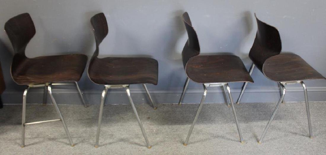 Set Of 4 Thonet Chrome and Laminate Chairs , - 9