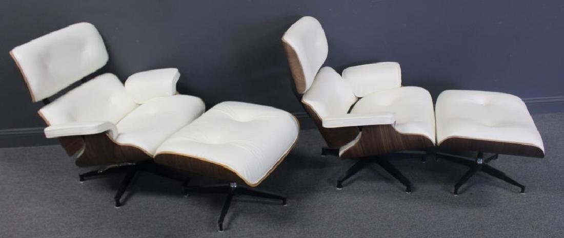 Pair Of Fine Quality White Leather Upholstered