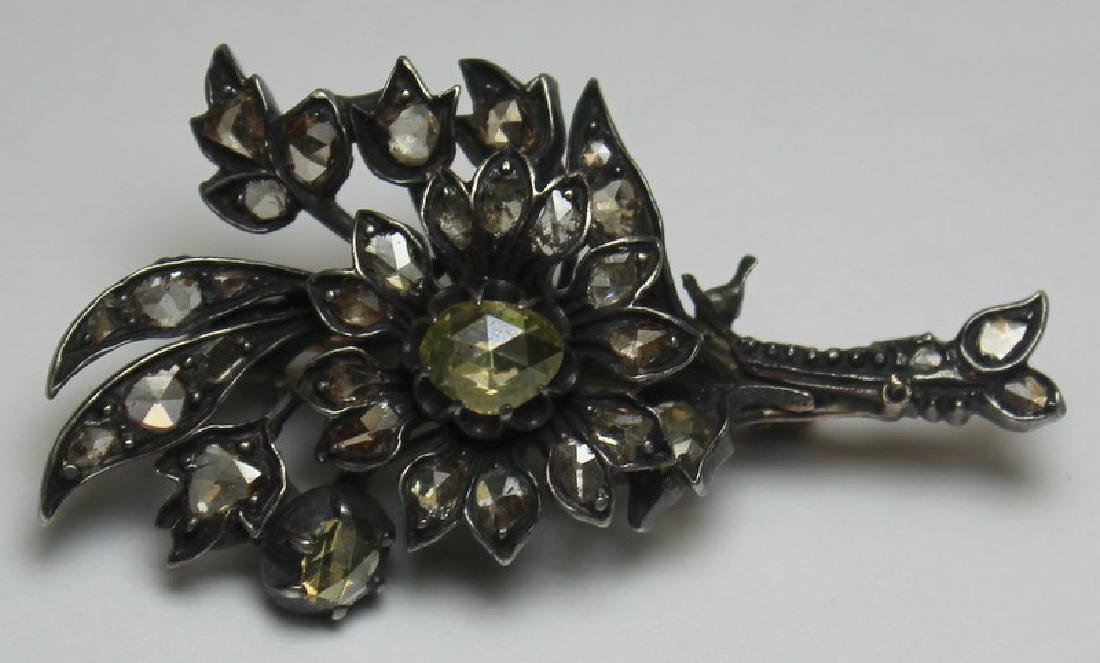 JEWELRY. Antique Rose Cut Diamond Floral Brooch.