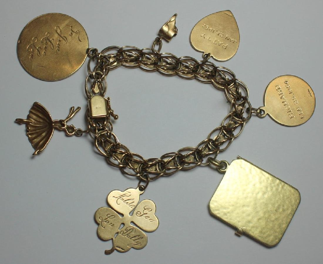 JEWELRY. 14kt Gold Charm Bracelet and 7 Charms. - 6