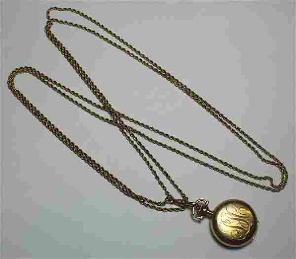 JEWELRY. Elgin Ladies 14kt Gold Pocket Watch.