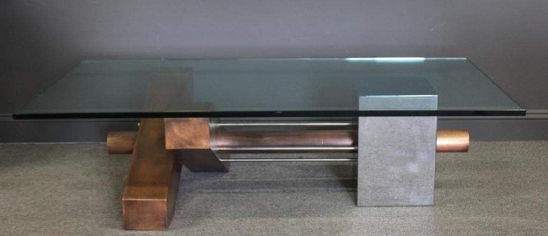 A Mid Century Modern Chrome & Copper Coffee Table