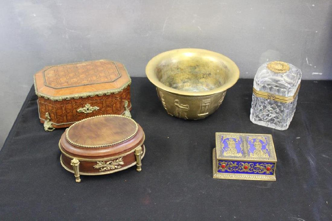Lot of Decorative Antique Boxes & Baccarat.