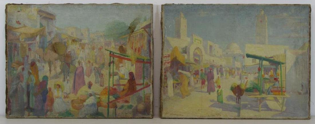 FREDER, Frederick. Two Oils on Canvas. Orientalist - 2