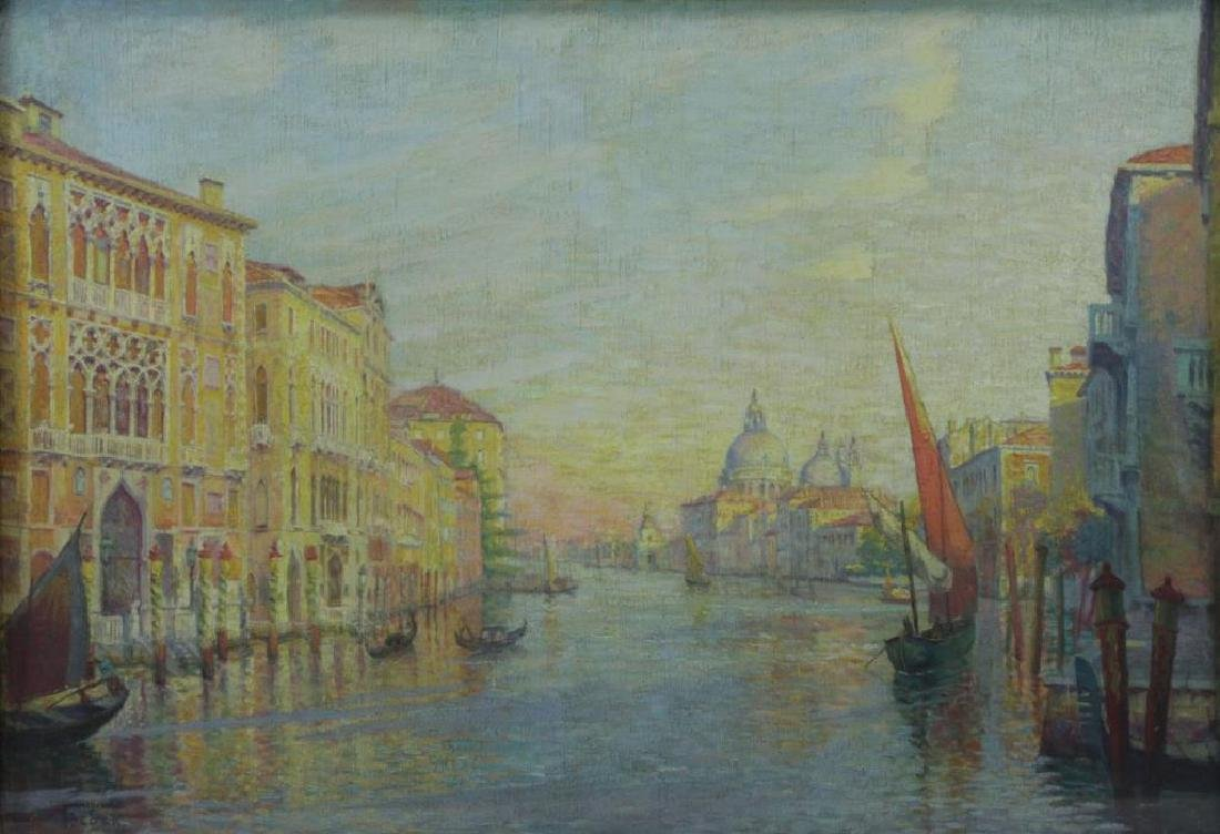"""FREDER, Frederick. Oil on Canvas. """"Grand Canal,"""