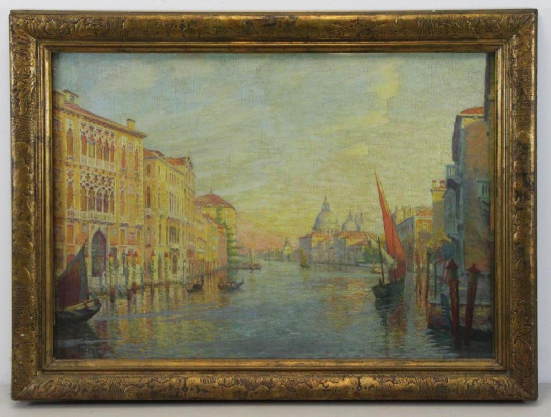 """FREDER, Frederick. Oil on Canvas. """"Grand Canal, - 2"""