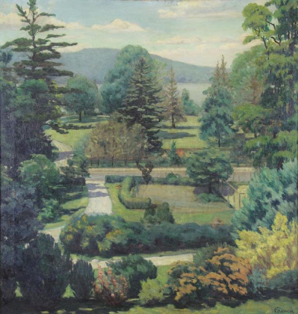 FREDER, Frederick. Oil on Canvas. Landscape with