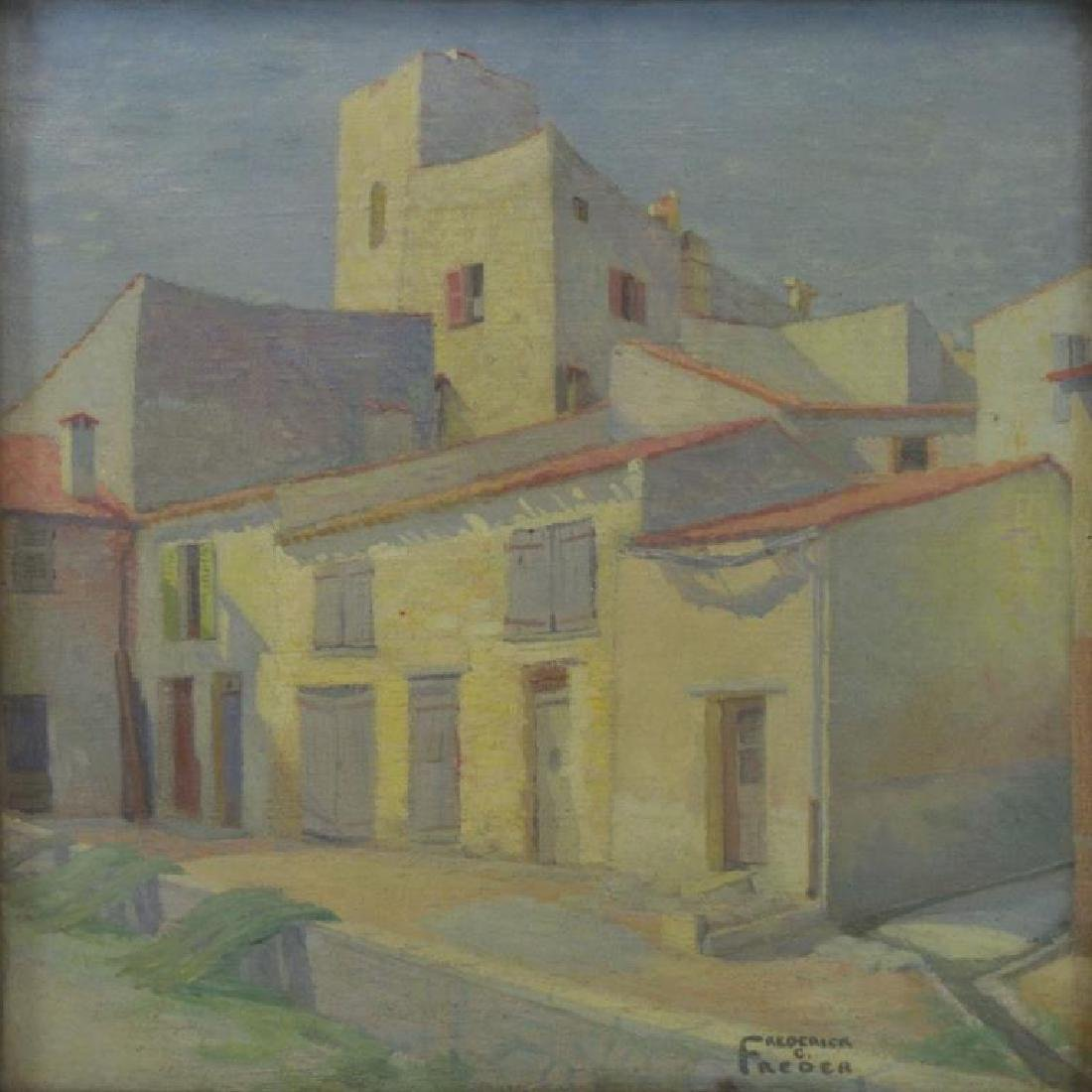 "FREDER, Frederick. Oil on Canvas. ""Old Houses,"