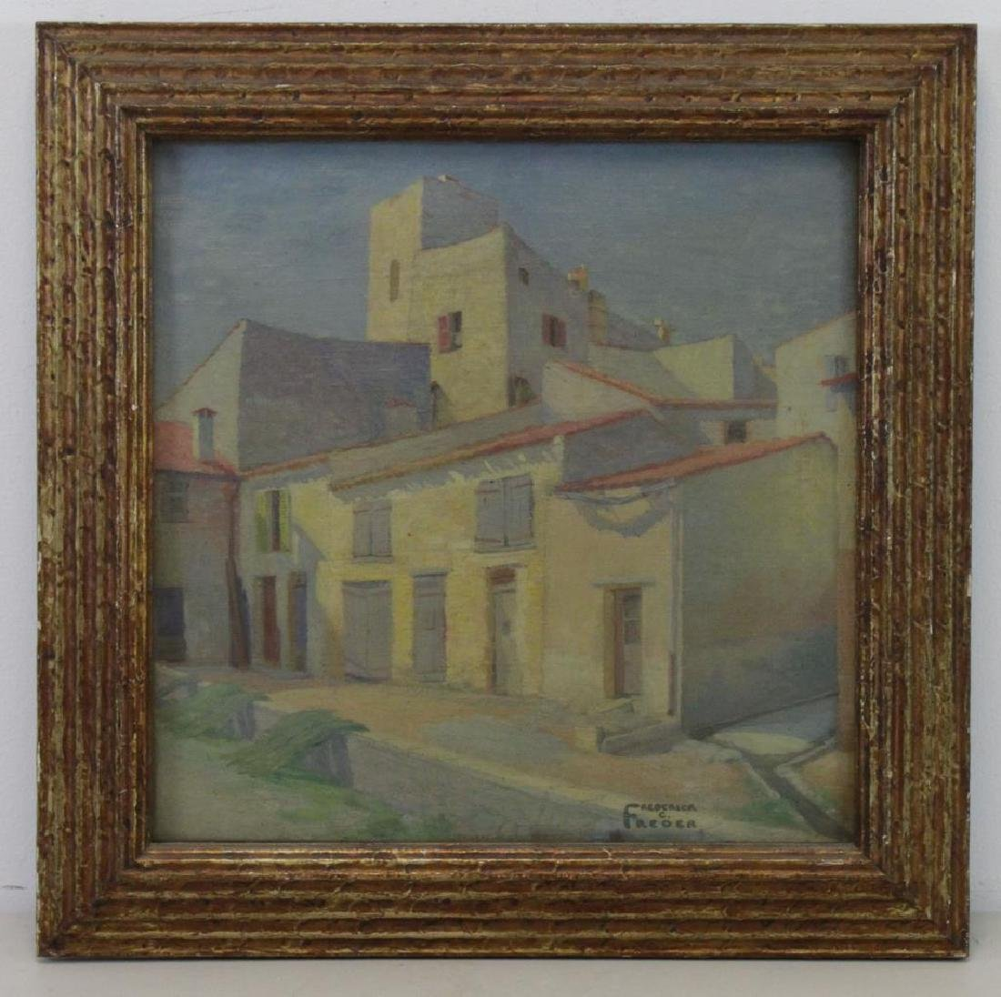 "FREDER, Frederick. Oil on Canvas. ""Old Houses, - 2"