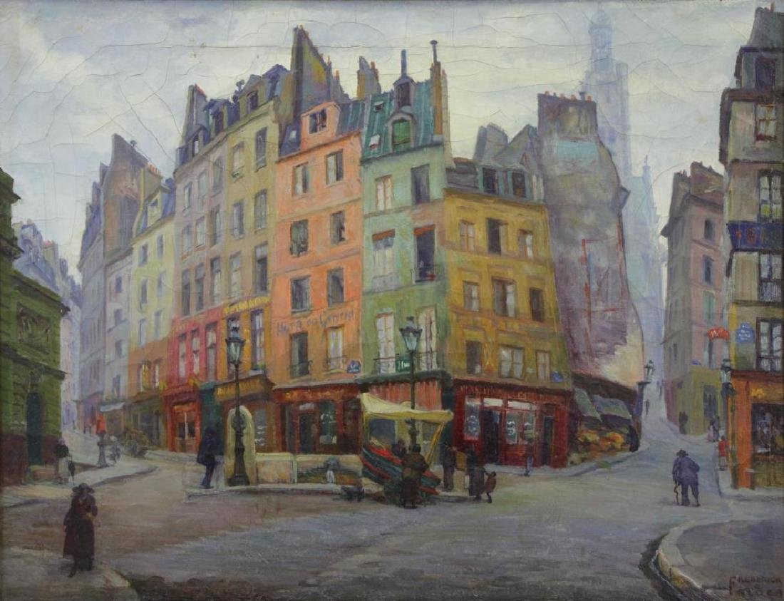 "FREDER, Frederick. Oil on Canvas. ""Old Paris"""
