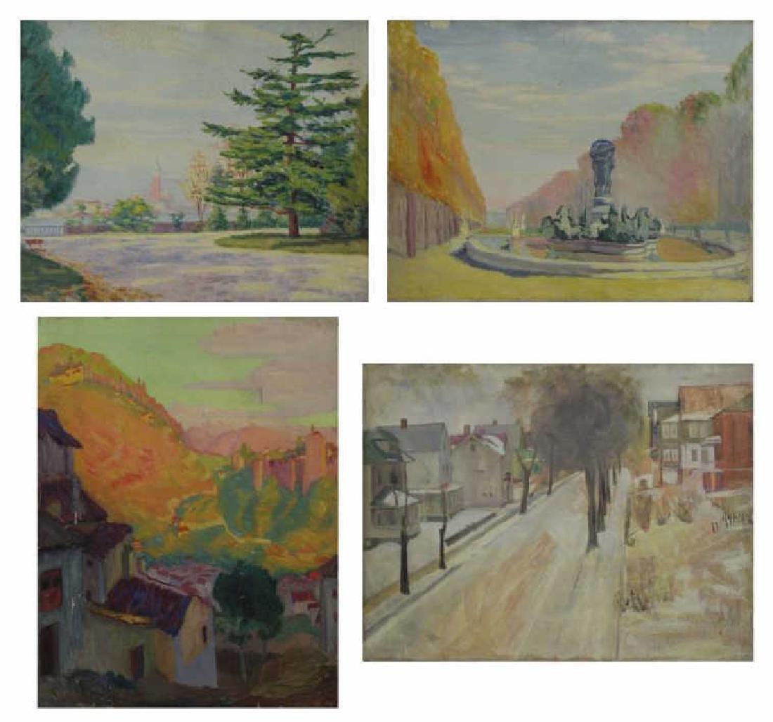 FREDER, Frederick. Four Oil on Canvas Landscapes.