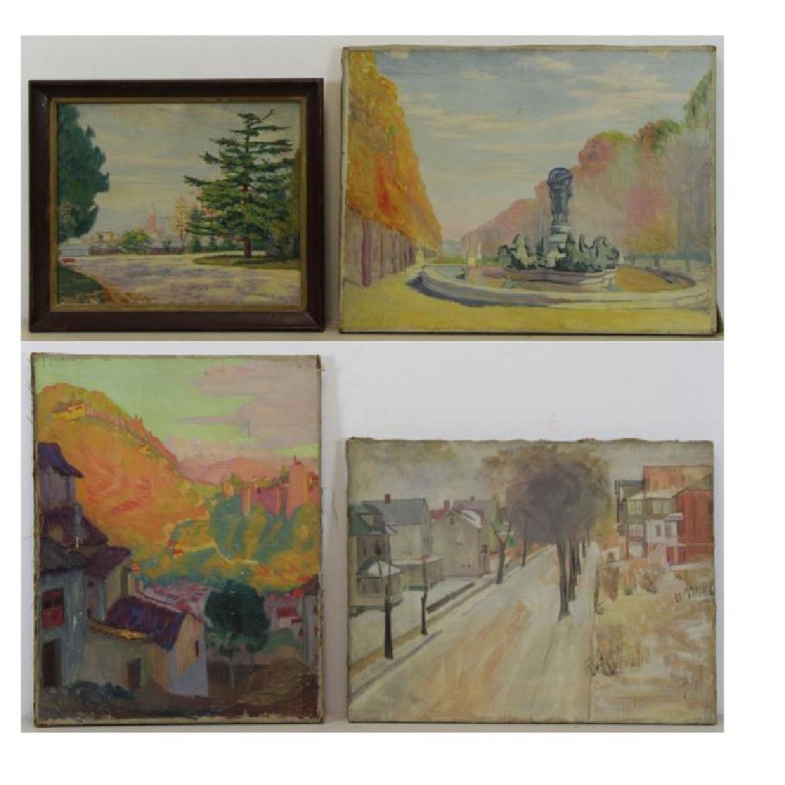 FREDER, Frederick. Four Oil on Canvas Landscapes. - 2