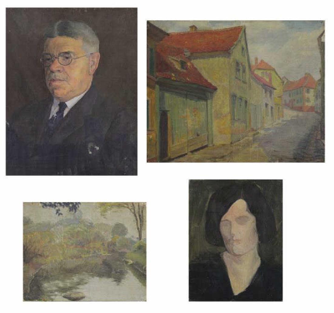 FREDER, Frederick. Four Oils on Canvas.