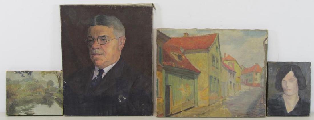 FREDER, Frederick. Four Oils on Canvas. - 2