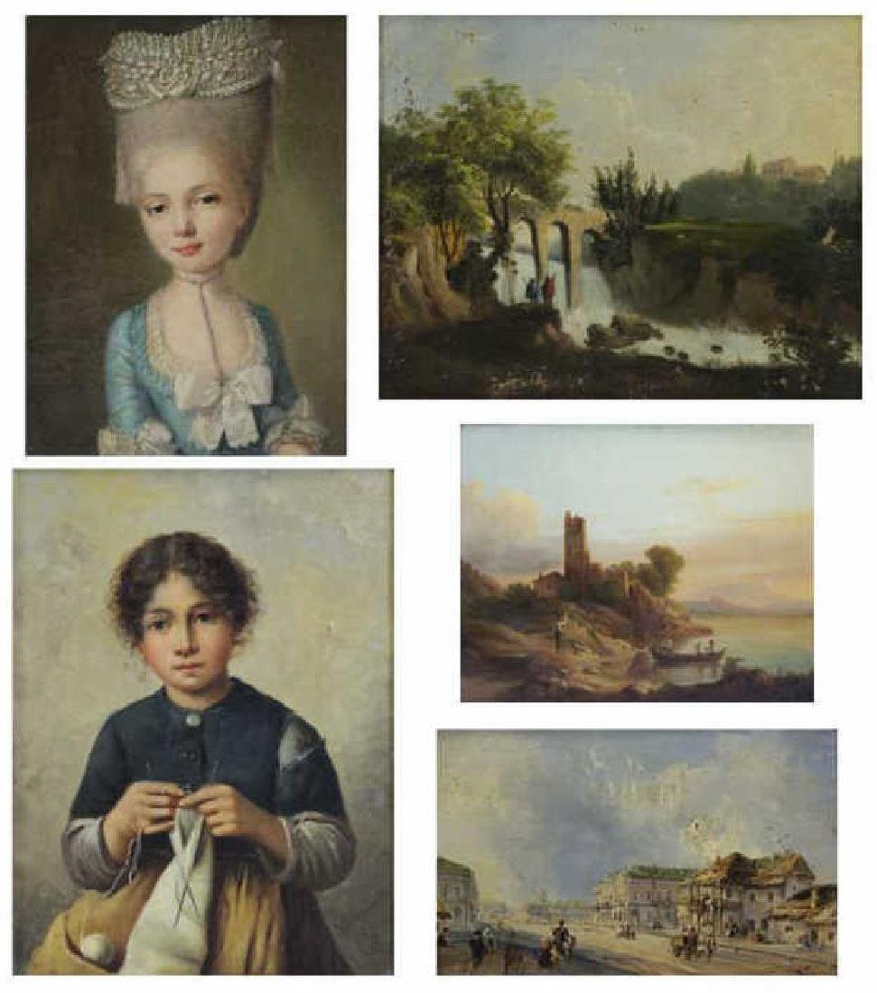 Lot of Five (5) 18th/19th Century Oil Paintings.