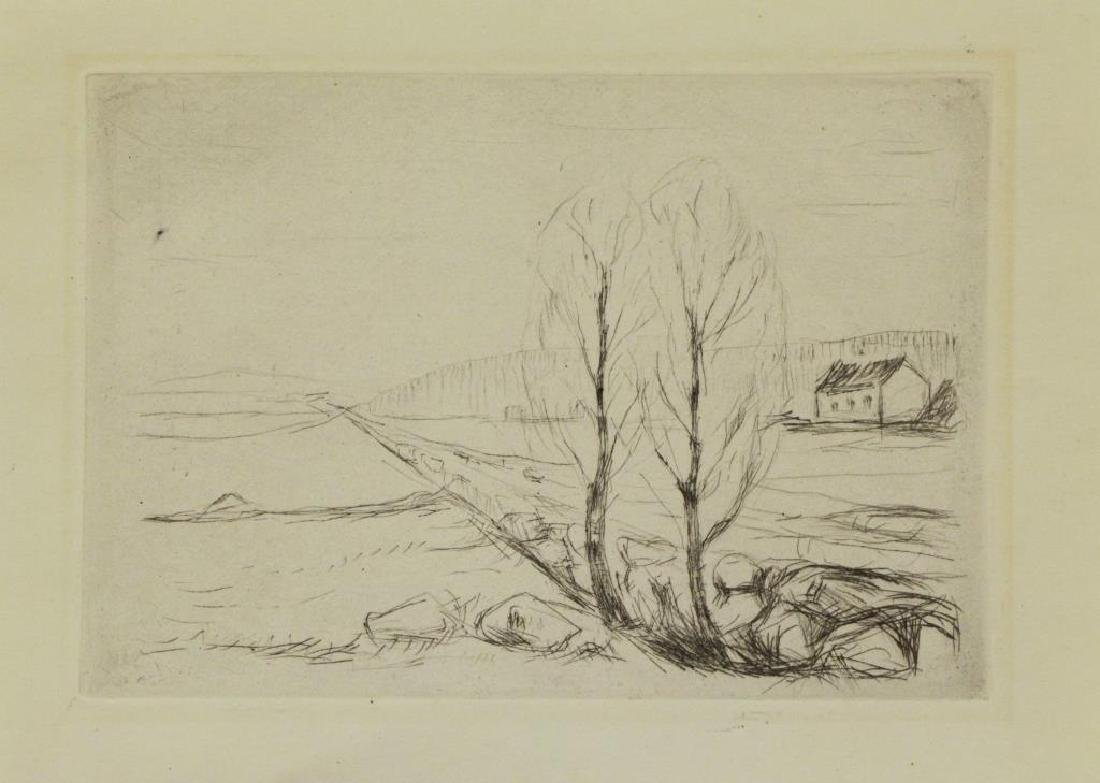 MUNCH, Edvard. Etching. Norwegian Landscape.