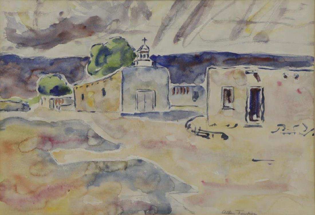 TUCKER, Allen. Watercolor. Southwestern Church.