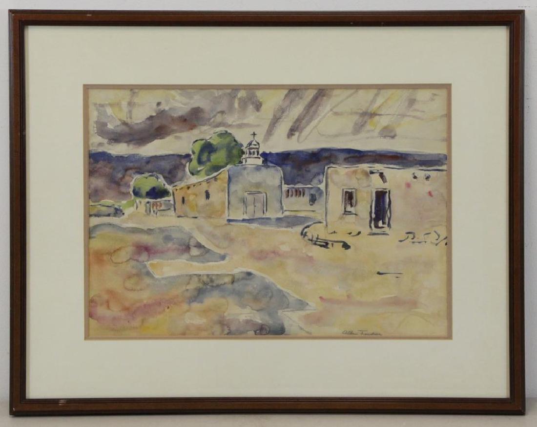 TUCKER, Allen. Watercolor. Southwestern Church. - 2