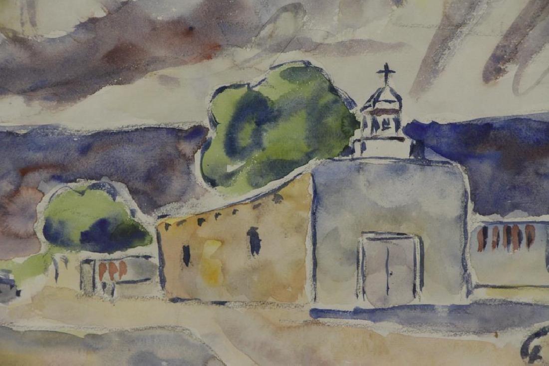TUCKER, Allen. Watercolor. Southwestern Church. - 3