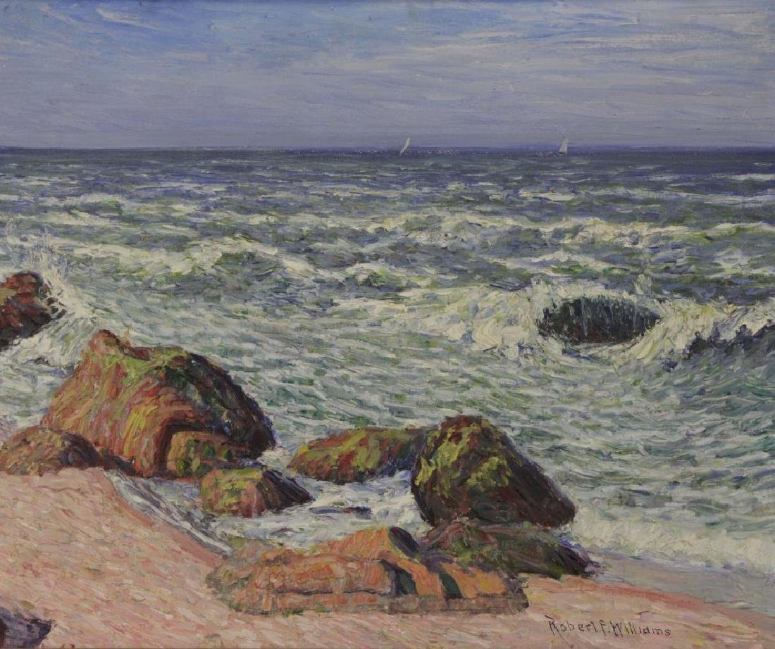 WILLIAMS, Robert F. Oil on Canvas. Seascape.