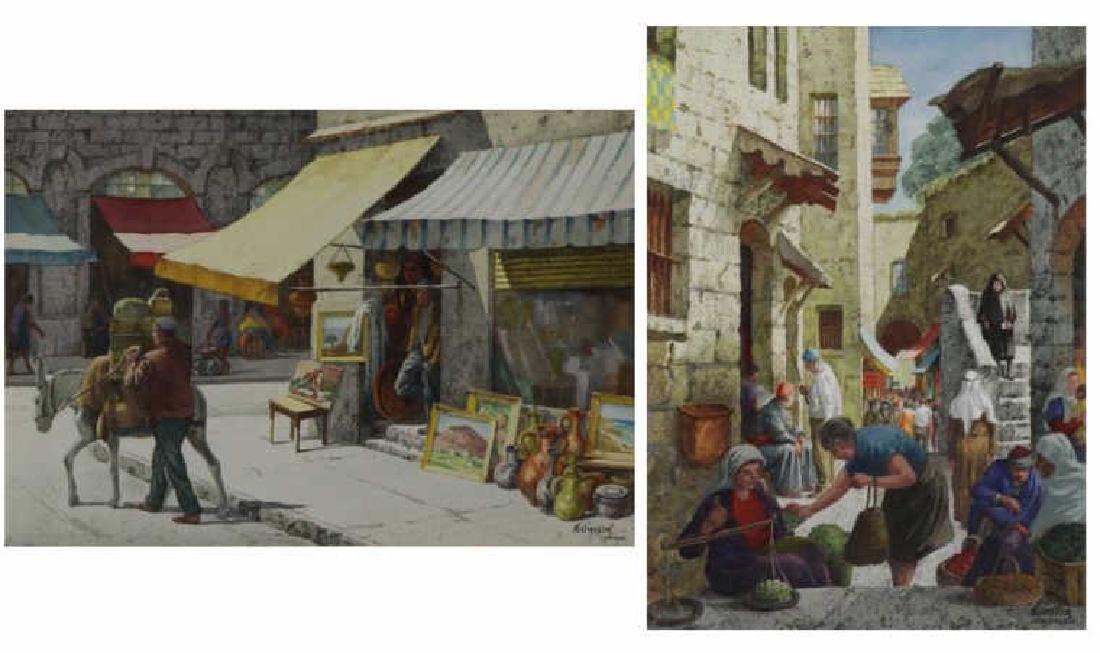 GASSER, Henry. Pair of Israeli Street Scenes.