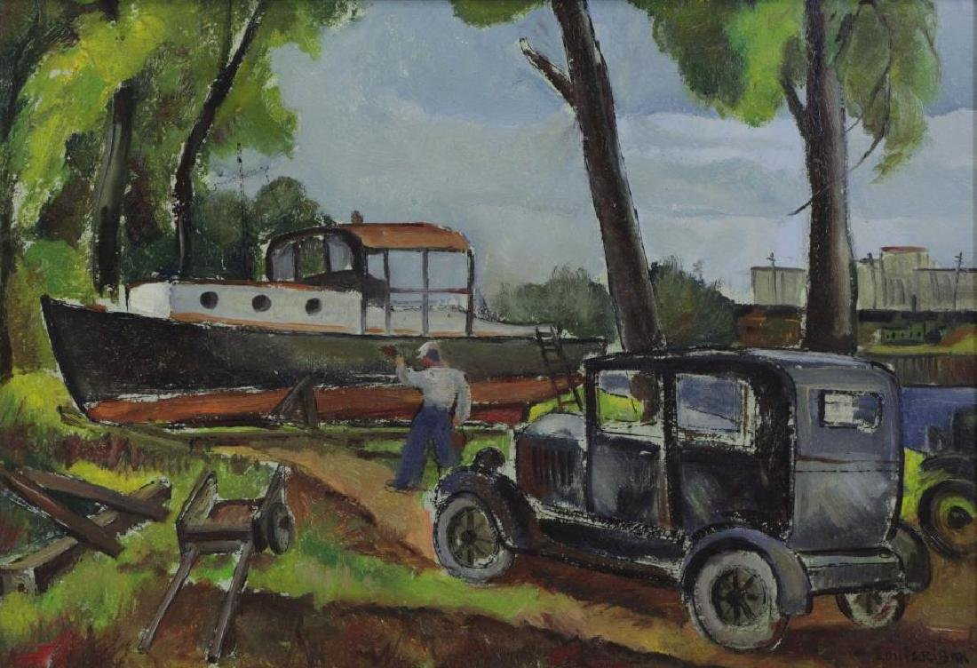 RIBAK, Louis. Oil on Board. Figure with Car and