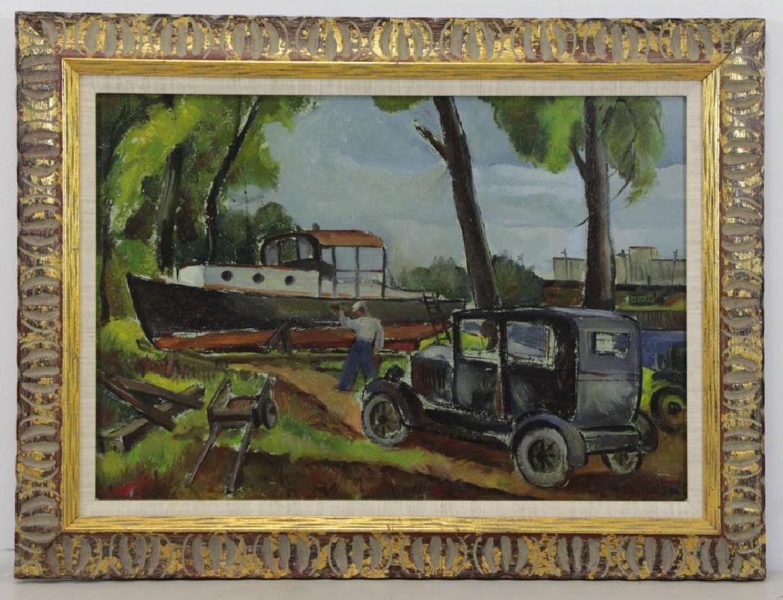 RIBAK, Louis. Oil on Board. Figure with Car and - 2