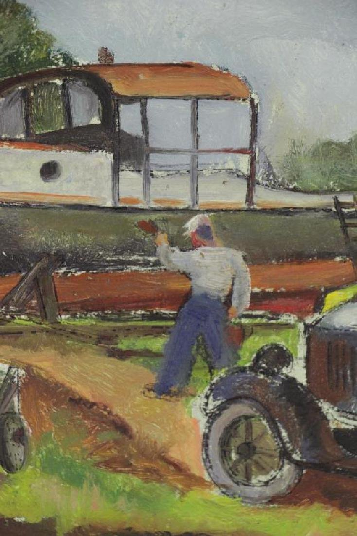 RIBAK, Louis. Oil on Board. Figure with Car and - 3