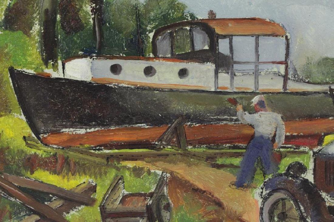 RIBAK, Louis. Oil on Board. Figure with Car and - 4