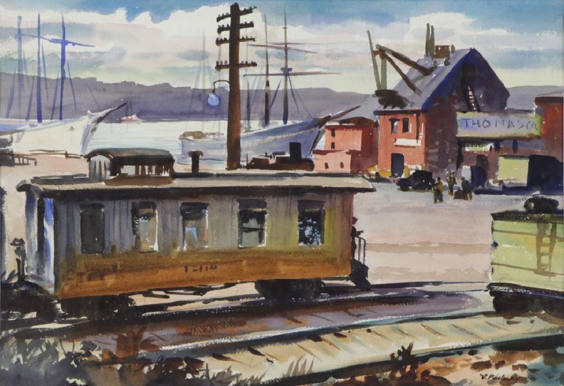 PAVLOSKY, Vladimir. Watercolor. Railroad Station.
