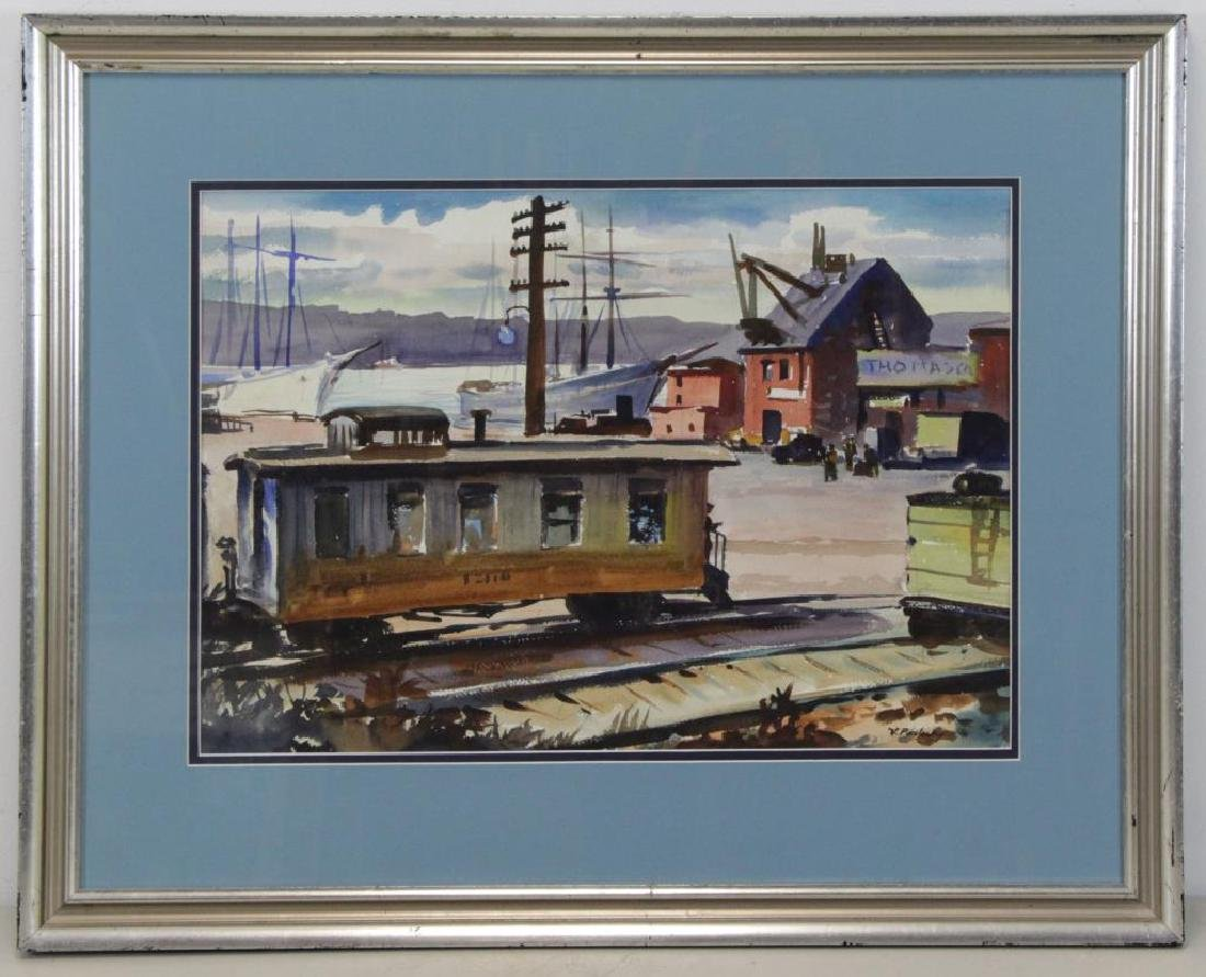 PAVLOSKY, Vladimir. Watercolor. Railroad Station. - 2