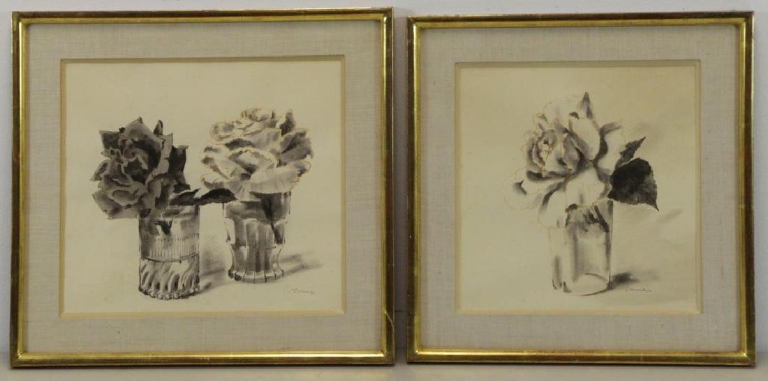 TRUEX, Van Day. Two Ink Wash Drawings on Paper. - 2