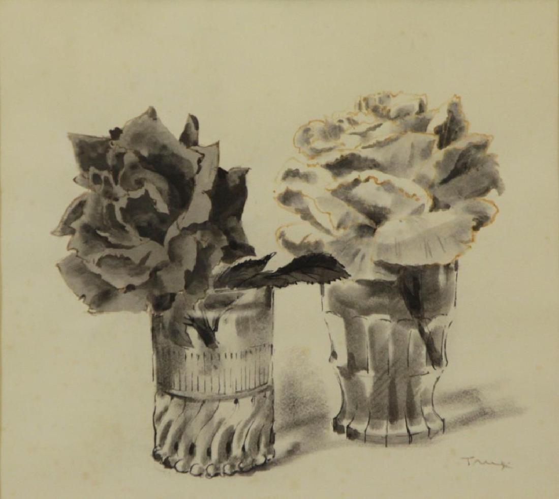 TRUEX, Van Day. Two Ink Wash Drawings on Paper. - 3