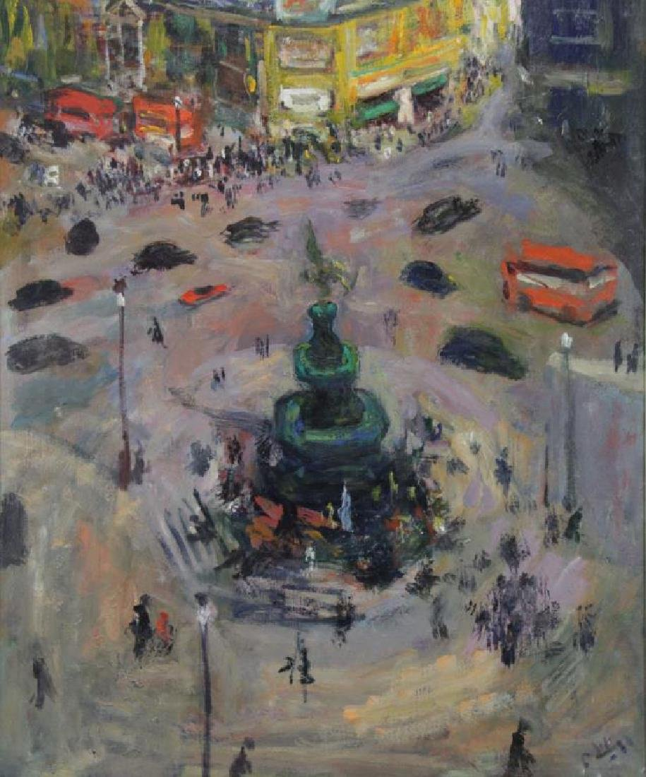 """PHILIPP, Robert. Oil on Canvas. """"Piccadilly Circus"""