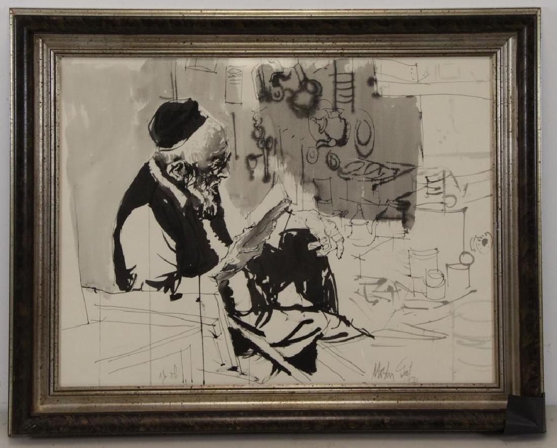 GAT, Moshe. Ink on Paper. Man Reading, 1971. - 2