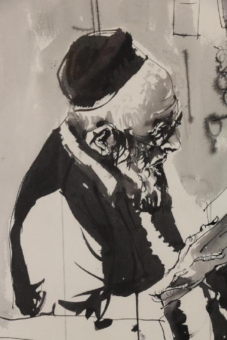 GAT, Moshe. Ink on Paper. Man Reading, 1971. - 3