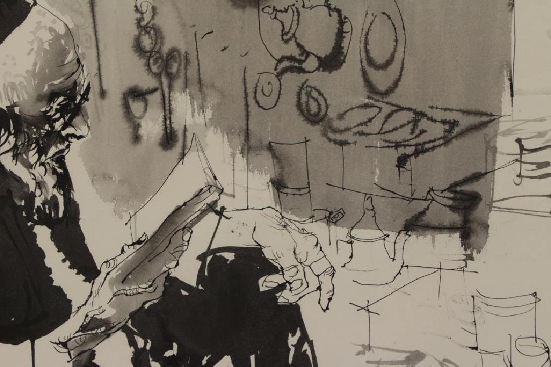GAT, Moshe. Ink on Paper. Man Reading, 1971. - 4