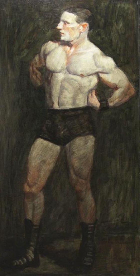 BEARD, Mark. Oil on Masonite. Portrait of Edgar
