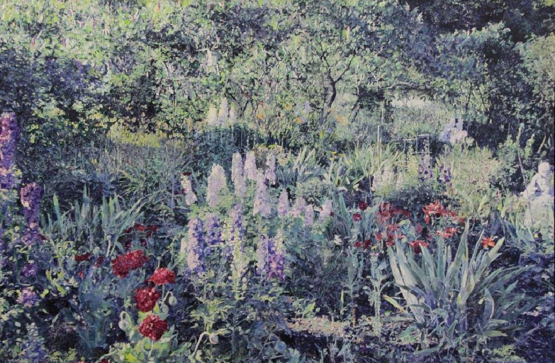 NICHOLS, William. Oil on Canvas. Flower Garden.