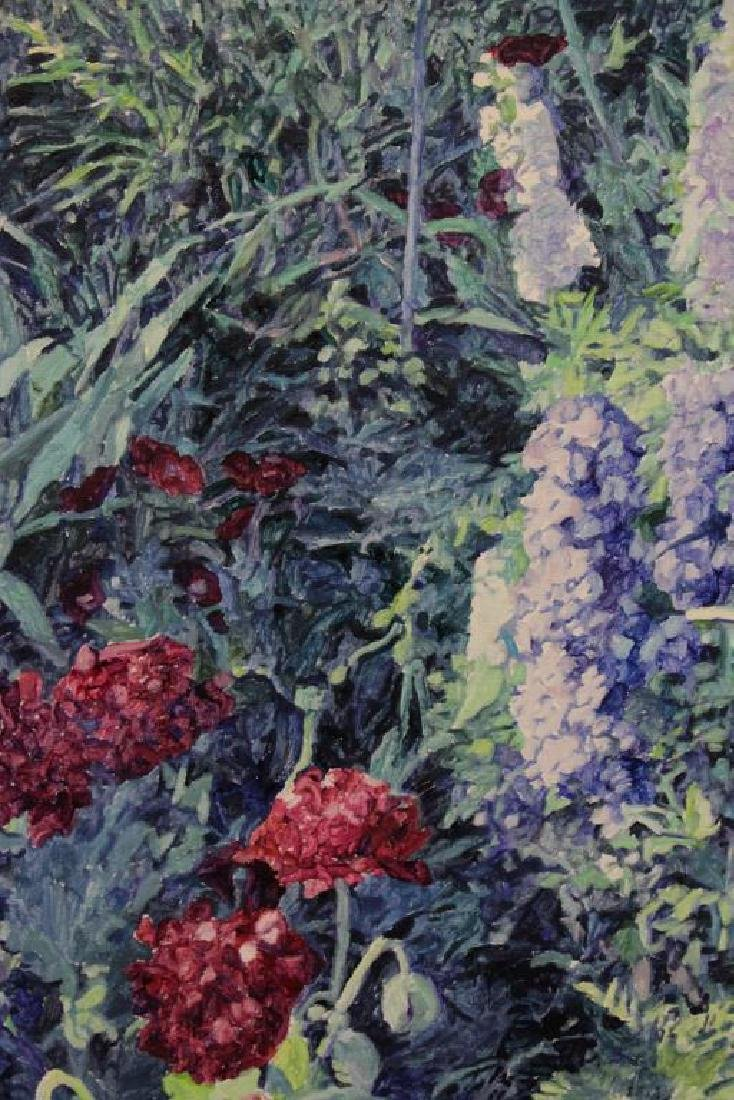 NICHOLS, William. Oil on Canvas. Flower Garden. - 3