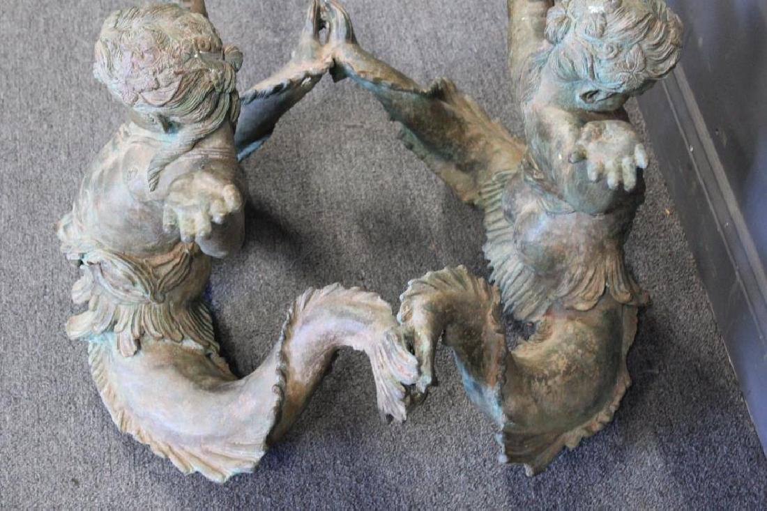 Antique Patinated Bronze Figural Coffee Table. - 5