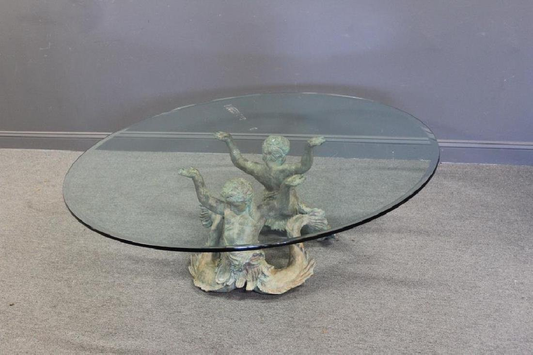 Antique Patinated Bronze Figural Coffee Table. - 7