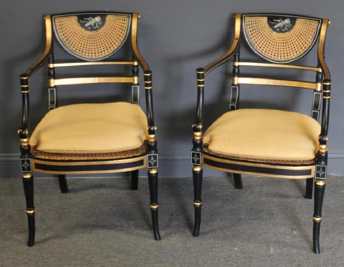 Pair of Regency Caned, Ebonised & Gilt Decorated