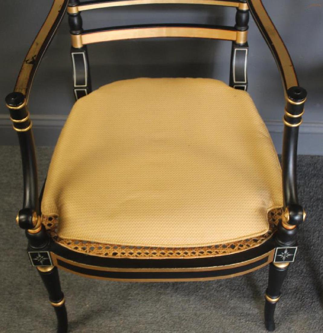 Pair of Regency Caned, Ebonised & Gilt Decorated - 3