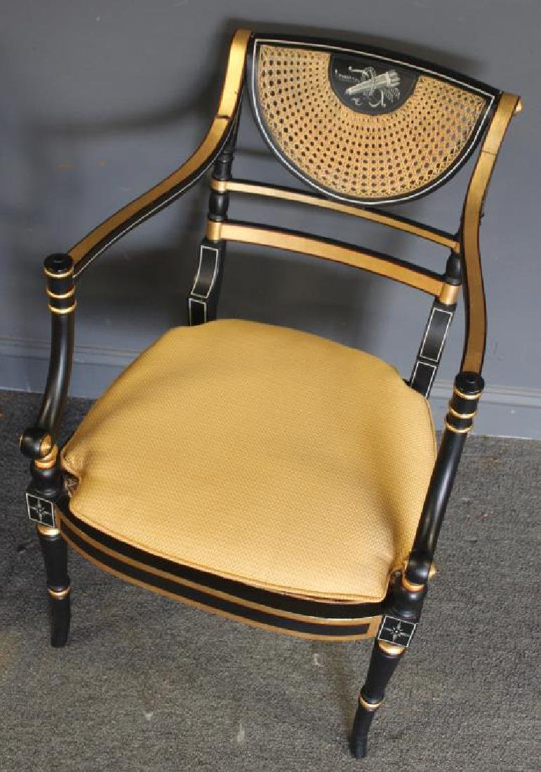 Pair of Regency Caned, Ebonised & Gilt Decorated - 4