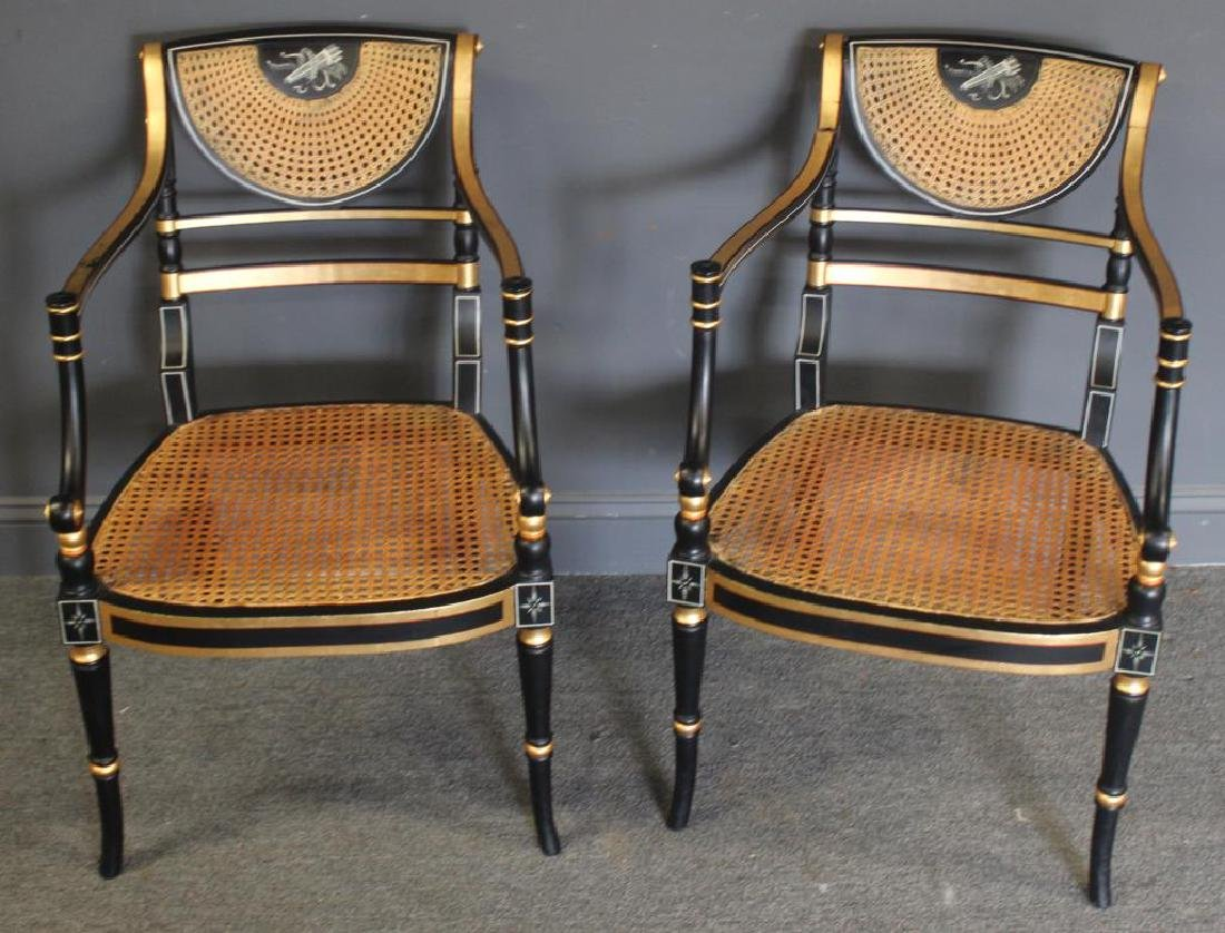 Pair of Regency Caned, Ebonised & Gilt Decorated - 5