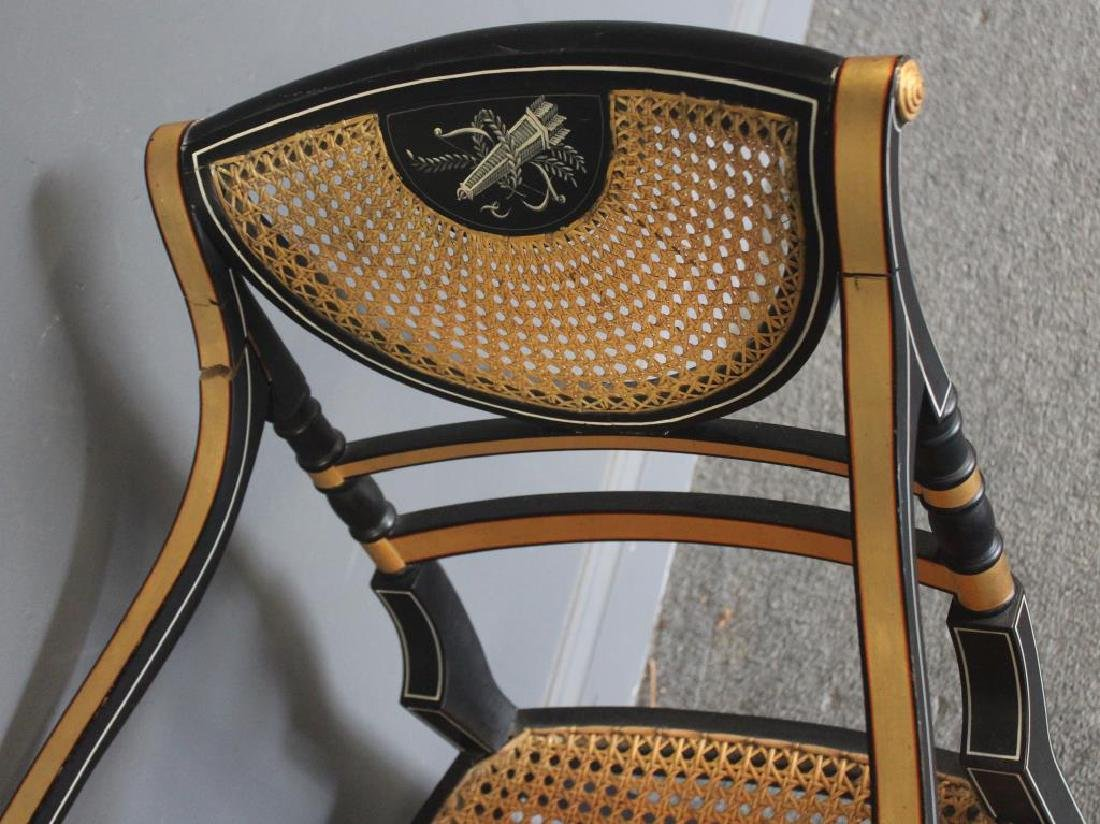 Pair of Regency Caned, Ebonised & Gilt Decorated - 6