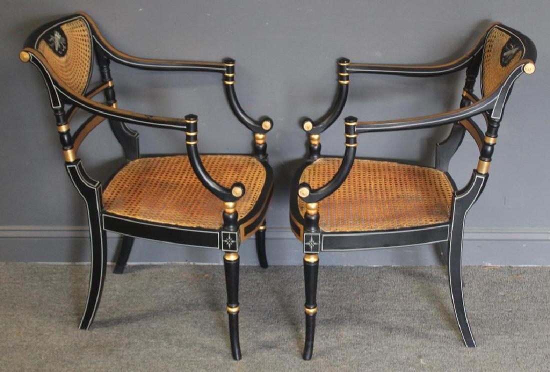 Pair of Regency Caned, Ebonised & Gilt Decorated - 7