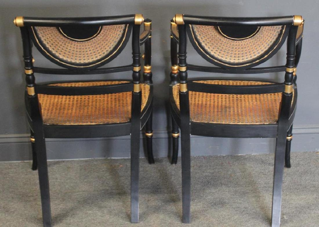 Pair of Regency Caned, Ebonised & Gilt Decorated - 8